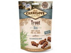 carnilove dog semi moist snack troutdill 200g