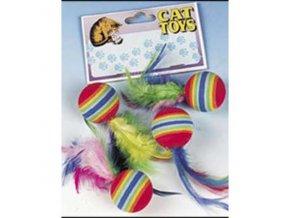 Hračka Loptičky s pierkami dúhové FL 4ks