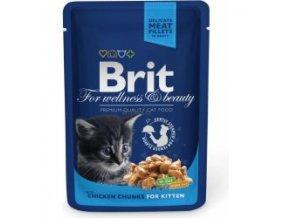 Brit Premium Cat kapsa Chicken Chunks for Kitten 100g