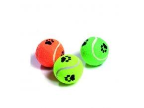 Hračka pes lopta tenisák pískací s tlapkou 6cm KAR 3ks
