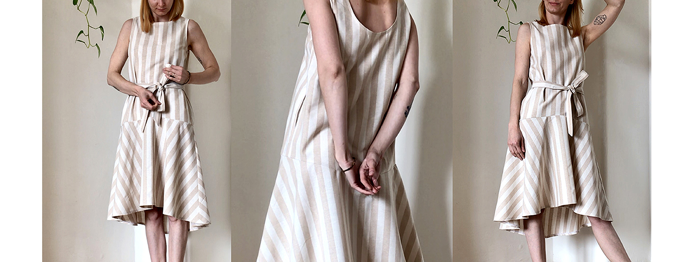 Šaty WAVE s béžovým proužkem