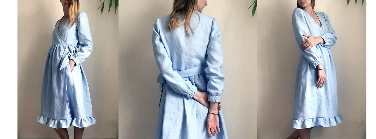 Šaty WRAP azurově modré
