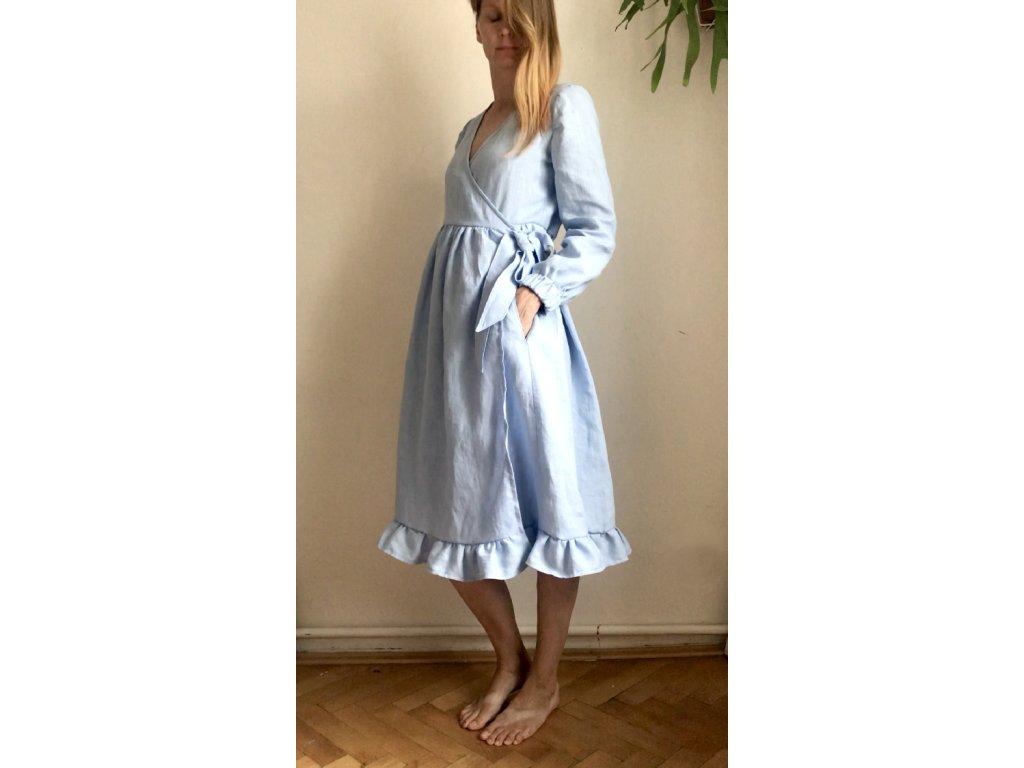 Šaty WRAP azurové s dlouhým rukávem