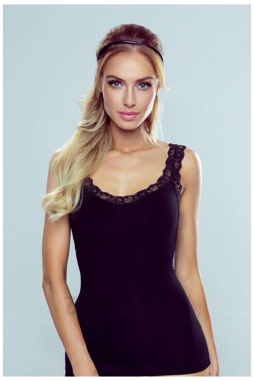 Černá košilka s krajkou model 144071 Eldar