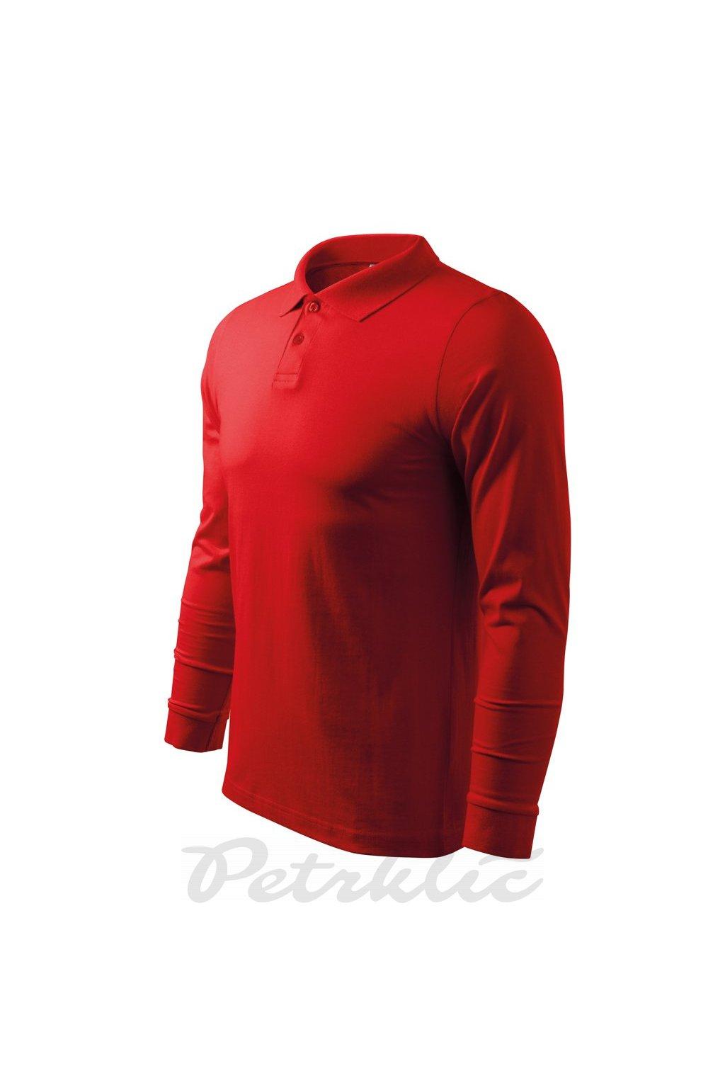 pánská polokošile s dlouhým rukávem červená