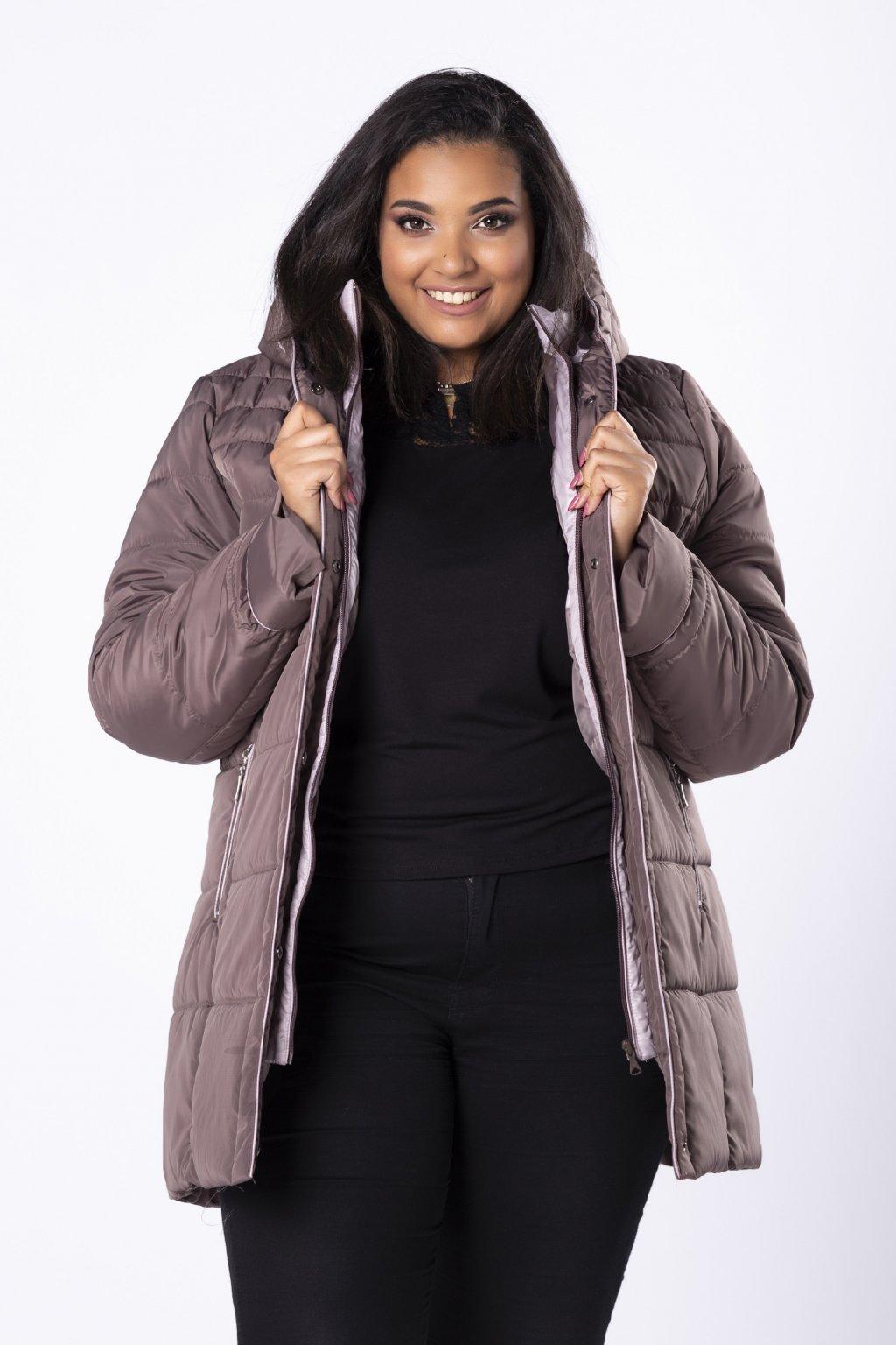 Delší prošívaná bunda s kapucí - hnědá