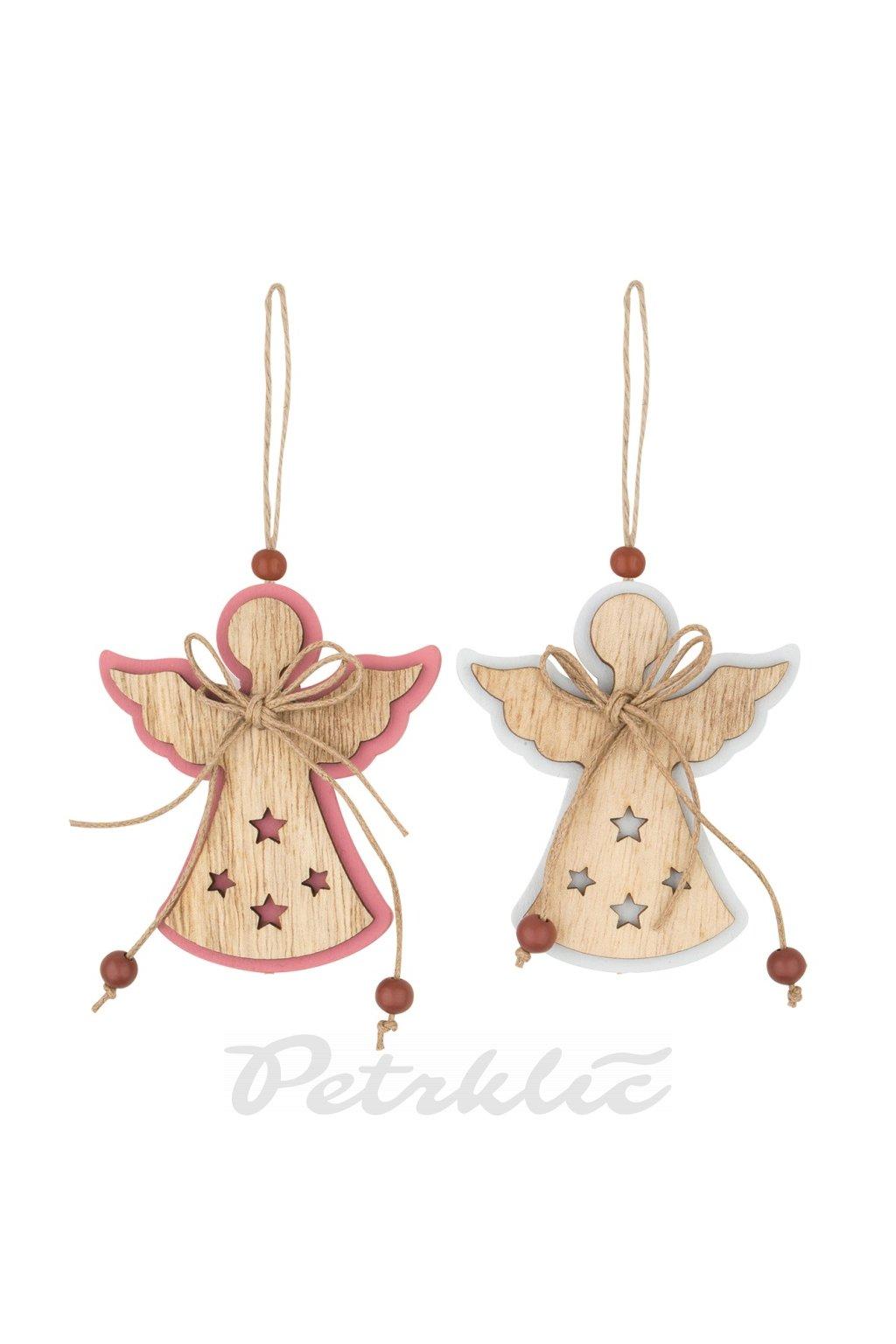 Anděl dřevěný na zavěšení - 8 cm - L4762