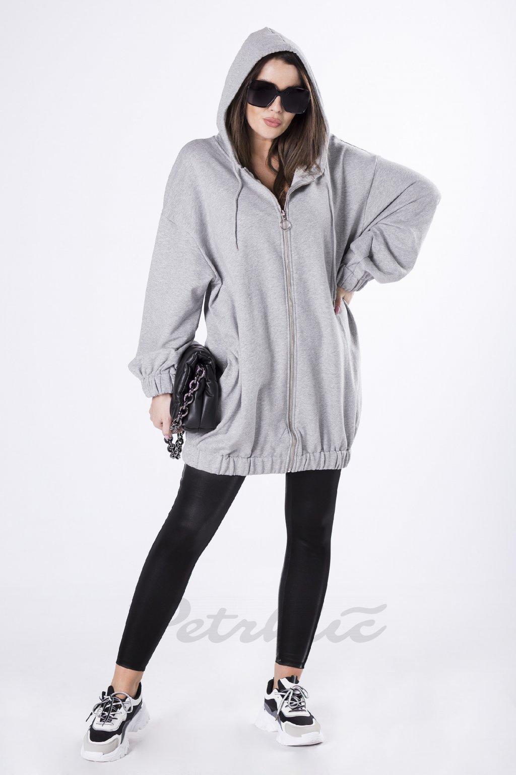 Dlouhá mikina s kapucí a tiskem na zádech, šedý melír 83067