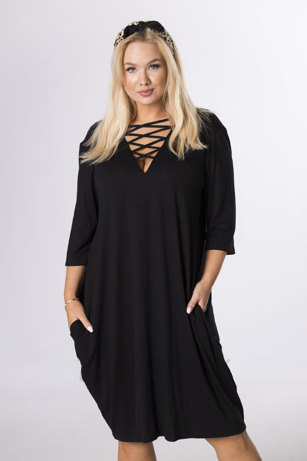 Oversize šaty se šněrováním - černé QBT84354