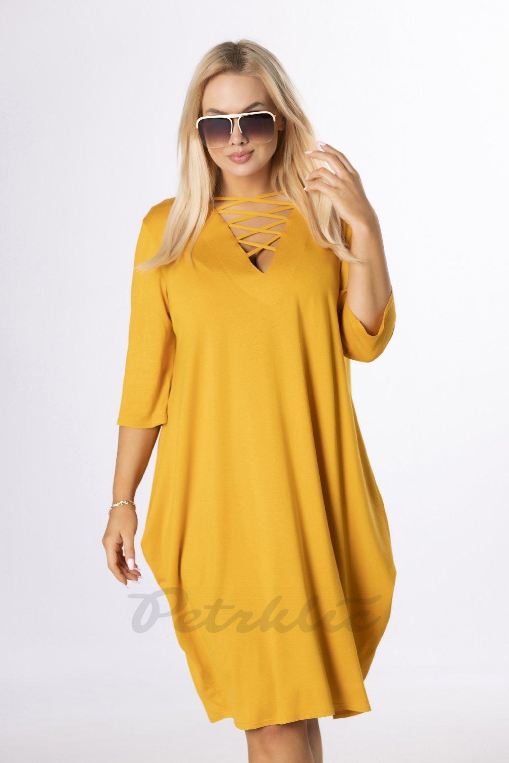 Oversize šaty se šněrováním - žluté QBT84354