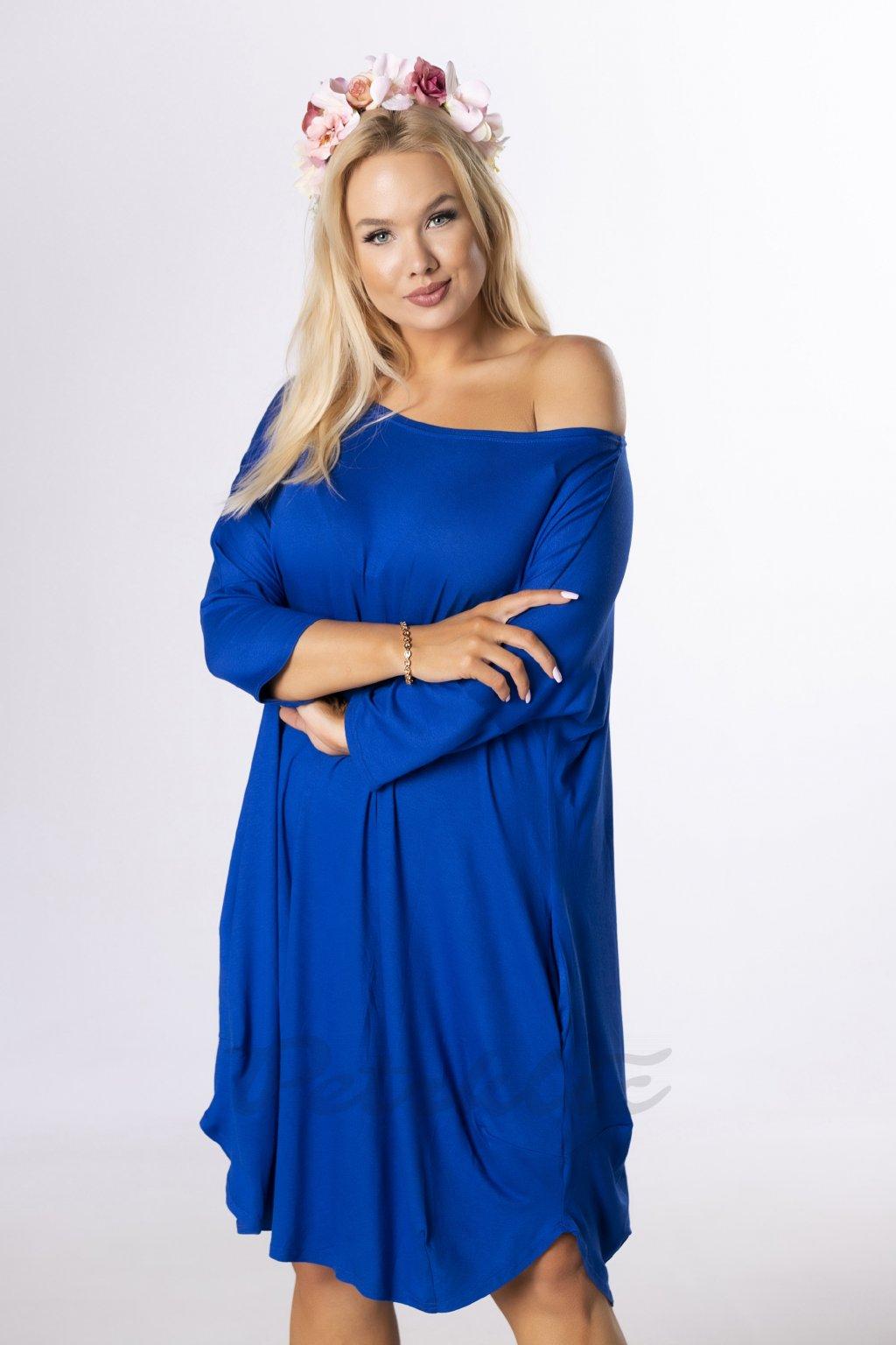 Oversize midi šaty - modré QBT84356