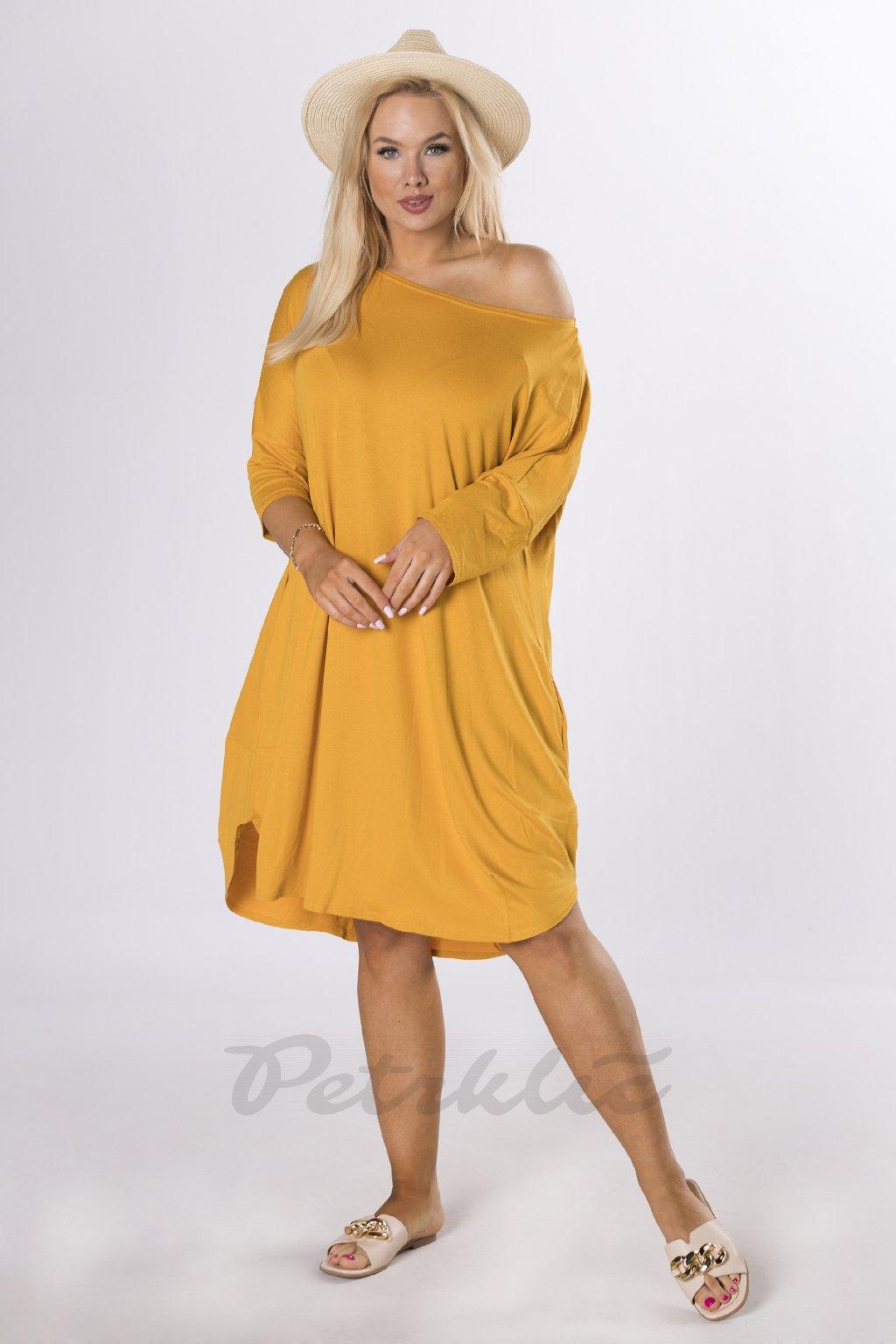 Oversize midi šaty - žluté QBT84356
