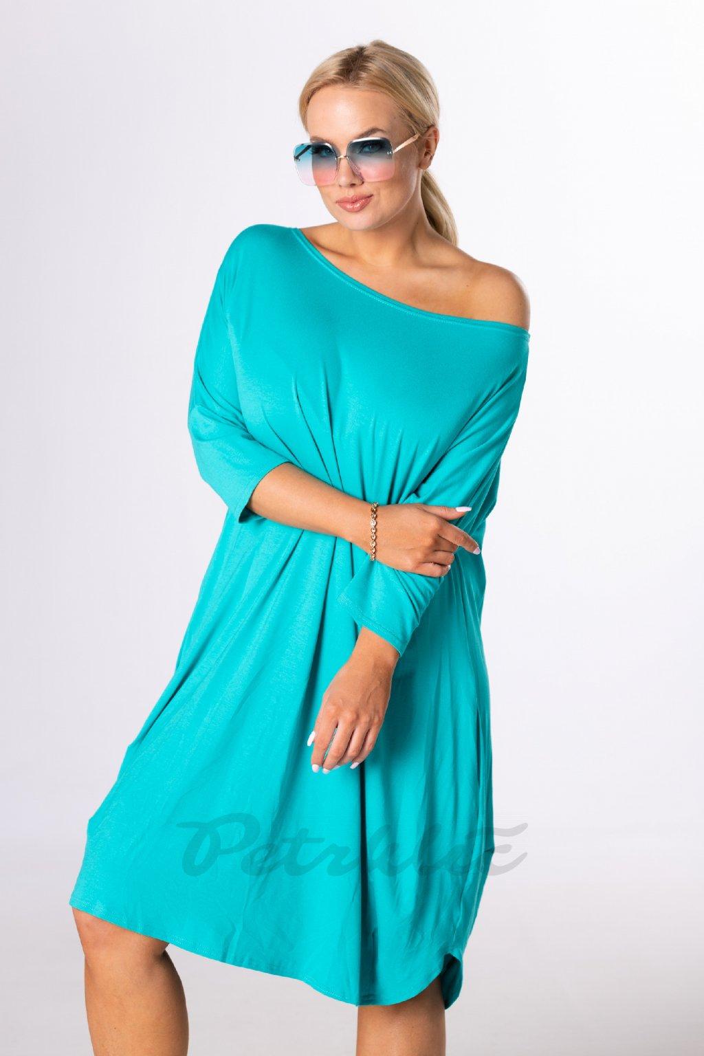 Oversize midi šaty - světle modré QBT84356