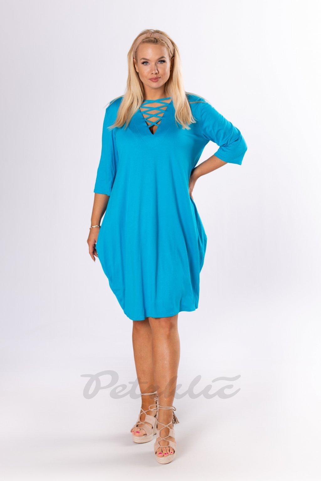 Oversize šaty se šněrováním - bleděmodré QBT84354