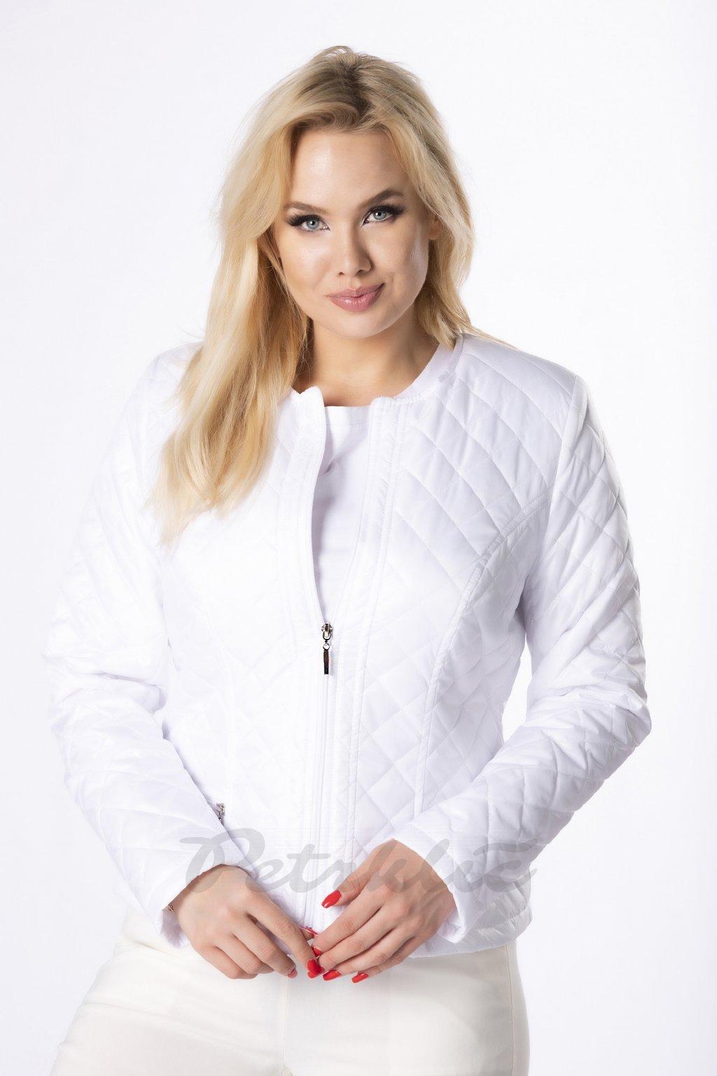 Krátká bílá prošívaná bunda QHO76008