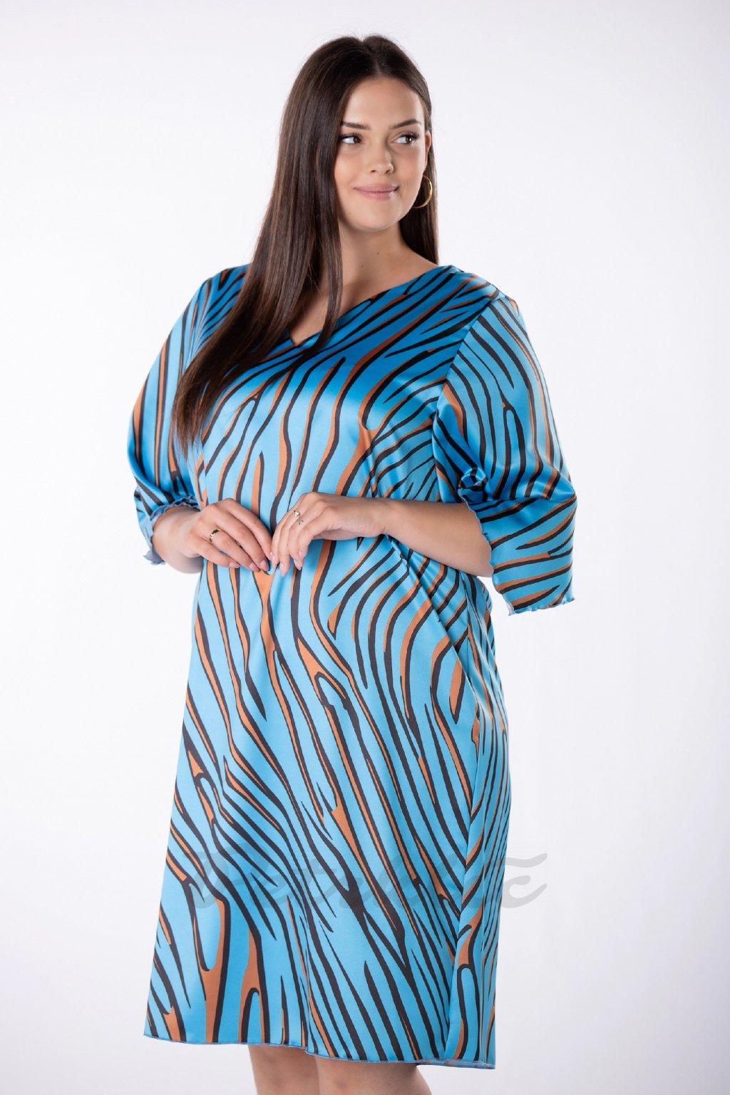 Saténové šaty s výstřihem do V - QRO84852
