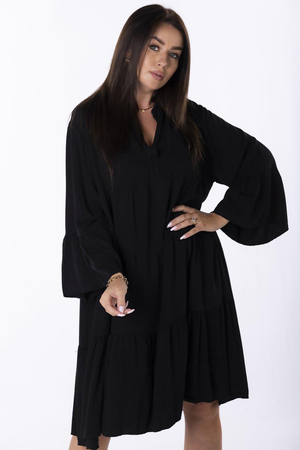 Áčkové oversize šaty QOM85181 - černé