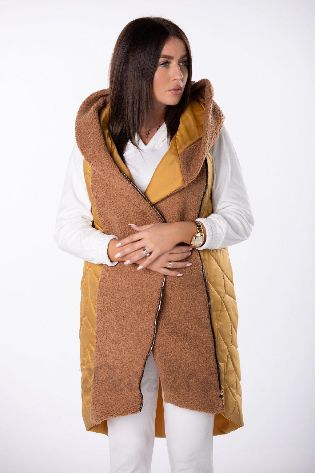 """Dlouhá prošívaná vesta v kombinaci s """"beránkem"""" DAMOKA Q85218 - žlutá barva (Barva žlutá, Velikost 1)"""