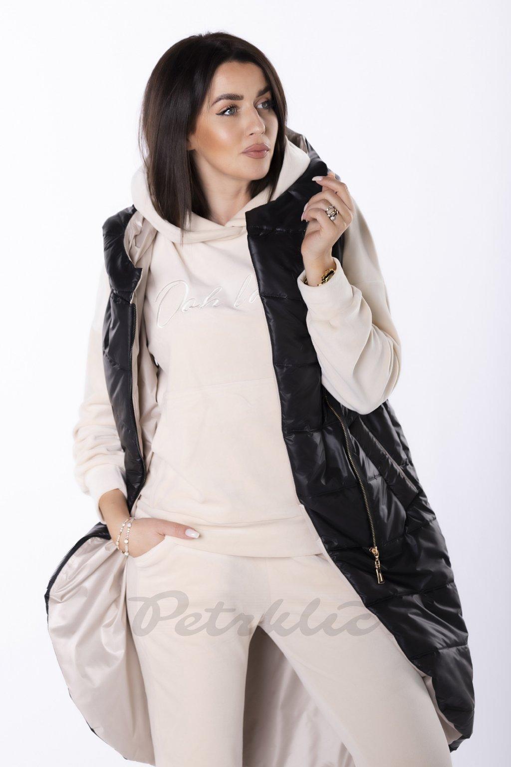 Dlouhá prošívaná vesta s kapucí QDA84642 - černá