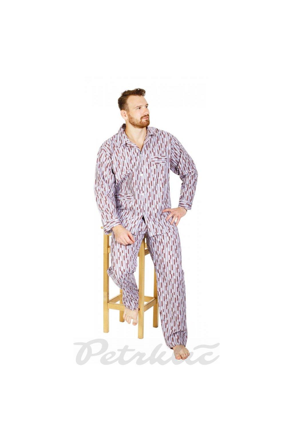 Pánské dlouhé pyžamo bavlna 100% - šedé a hnědé dezény