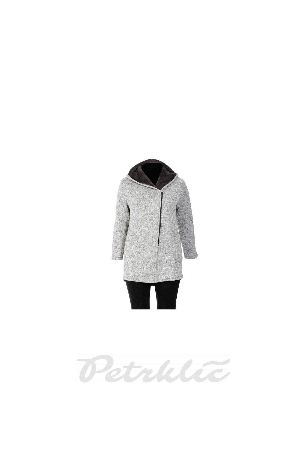Melírovaný kabátek s kapucí sv. šedá + tm. šedá