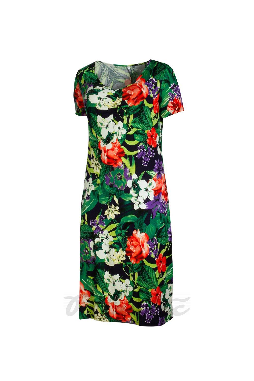 Domča - letní šaty zelený tisk