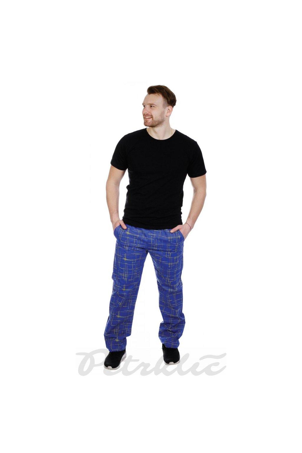 Pánské domáky - kalhoty modrožlutá