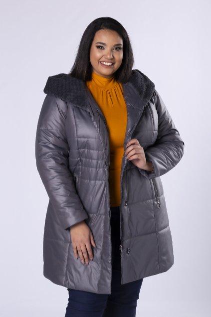 Prošívaná bunda s ozdobnou kožešinou na kapuci – šedá
