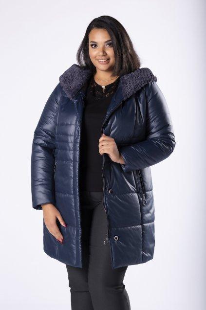 Prošívaná bunda s ozdobnou kožešinou na kapuci – modrá