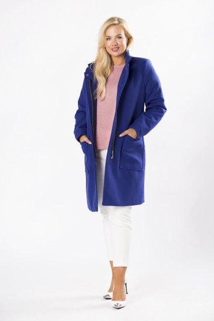 Klasický rovný kabát se stojákem – královsky modrý