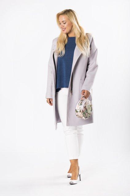 Klasický rovný kabát se stojákem – šedý