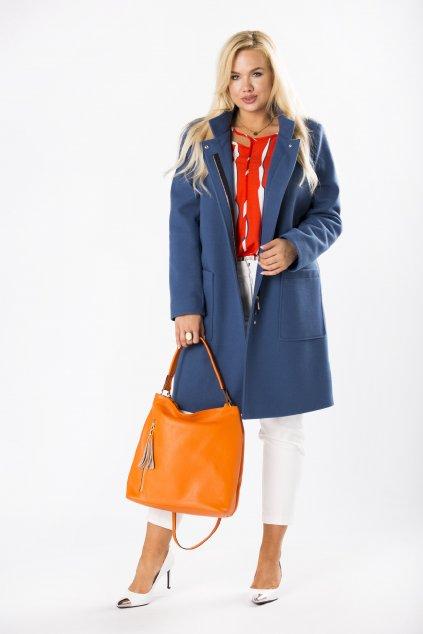 Klasický rovný kabát se stojákem – modrý