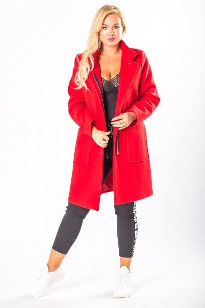 Klasický rovný kabát se stojákem – červený