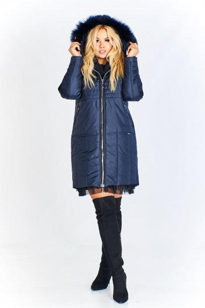 Bohatě prošívaná bunda s kapucí a kožešinou – modrá