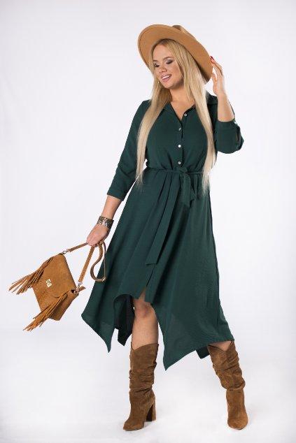 Košilové šaty s vázačkou - zelené