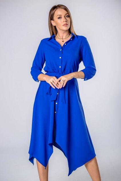 Košilové šaty s vázačkou – královsky modré