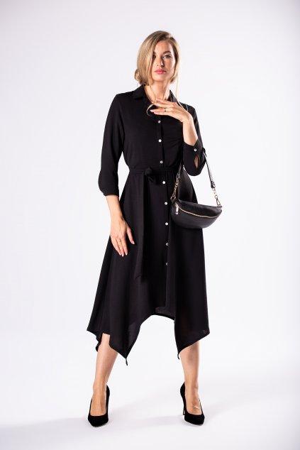 Košilové šaty s vázačkou – černé