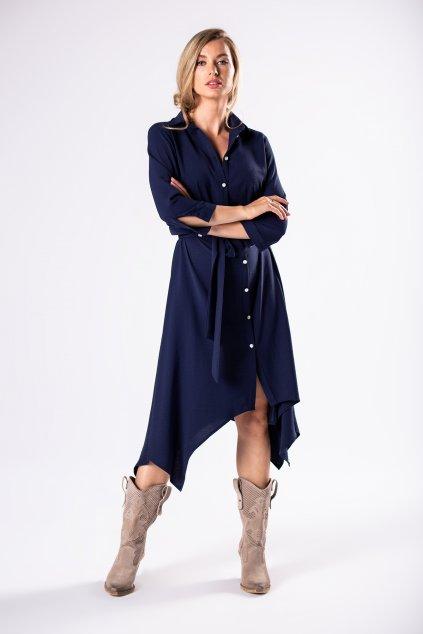 Košilové šaty s vázačkou – tmavě modré
