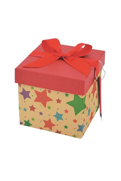 Dárková krabička skládací s mašlí vánoční XS 10x10x10 cm L1370
