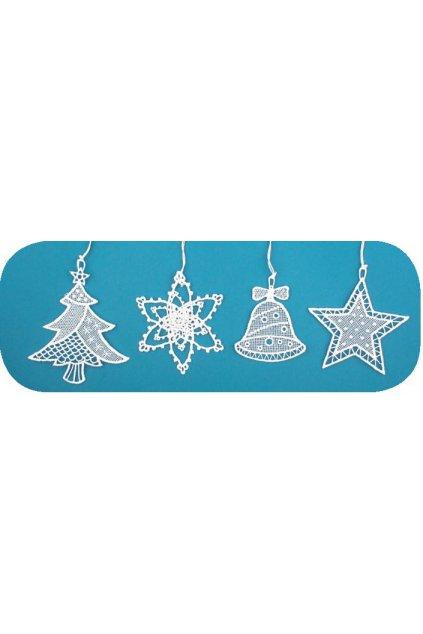 Háčkované vánoční ozdoby (zvonek,stromek,vločka,hvězda) 7cm  L2508