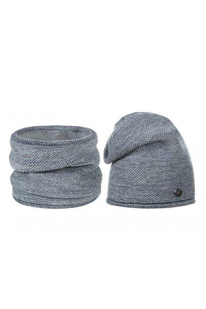 Zimní sada čepice a nákrčník  modrá tmavá, bílá  L9810416