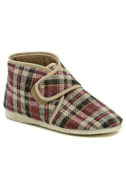 Pegres 1036 kárované dámské kotníkové papuče