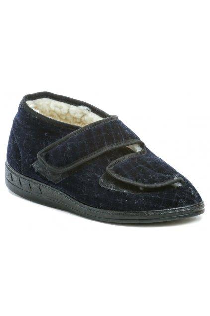 ARNO 192007 modré pánské zdravotní papuče s kožíškem