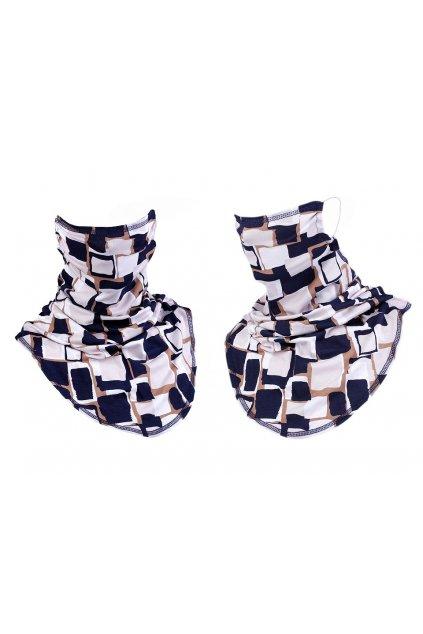Šátek včetně roušky 2v1 vzorovaný -  béžová sm. modrá  L9810630
