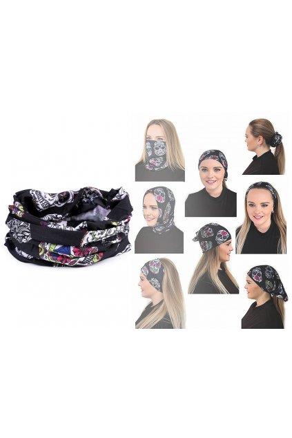 Multifunkční šátek pružný, bezešvý lebky   L9810364