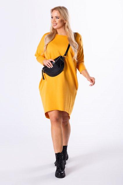Žluté pletené šaty s prodlouženým zadním dílem - 100% bavlna