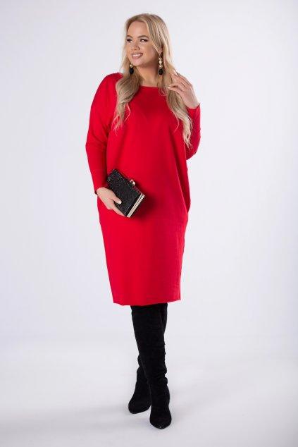 100% bavlněné sportovní oversize šaty – červené