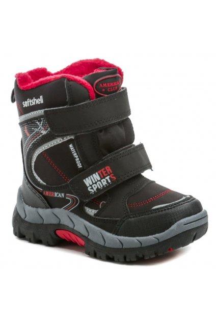 American Club HL43-20 černo červené zimní dětské boty