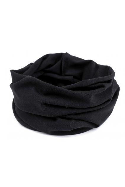 Multifunkční nákrčník z bavlněného úpletu  černý L9810593