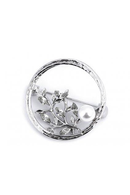 Brož s broušenými kamínky a perlou L9330955